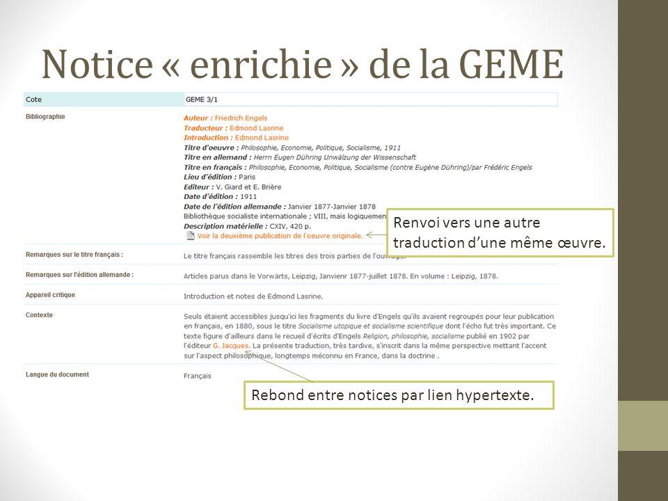Notice « enrichie » de la GEME