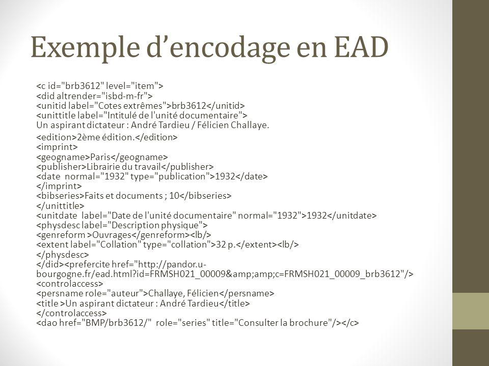 Exemple d'encodage en EAD