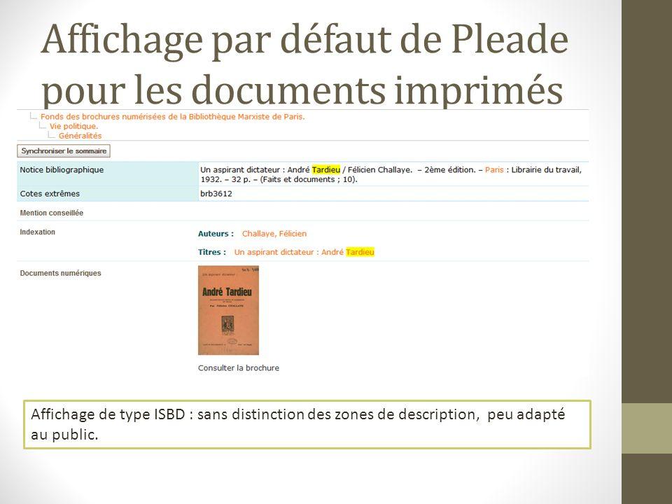 Affichage par défaut de Pleade pour les documents imprimés