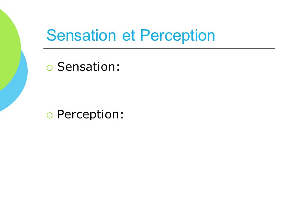 Sensation et Perception