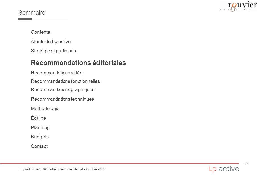 Recommandations éditoriales
