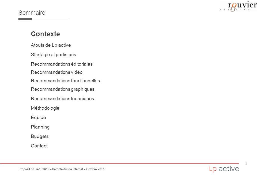 Contexte Sommaire Atouts de Lp active Stratégie et partis pris