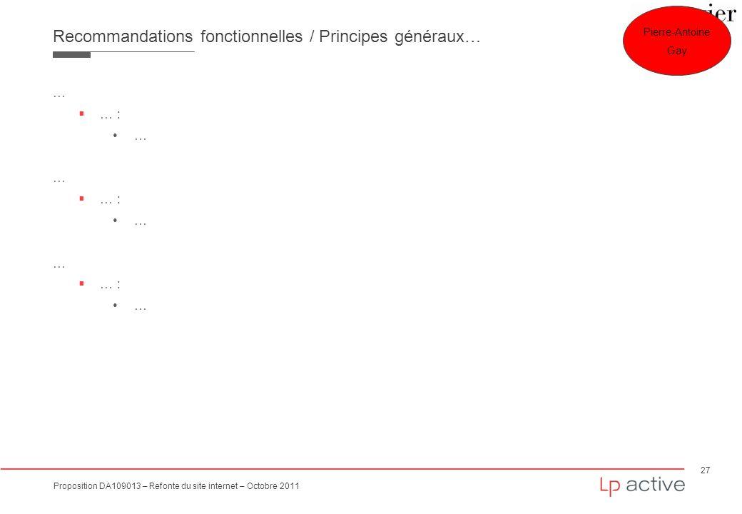 Recommandations fonctionnelles / Principes généraux…