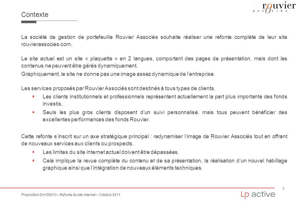 Contexte La société de gestion de portefeuille Rouvier Associés souhaite réaliser une refonte complète de leur site rouvierassocies.com.