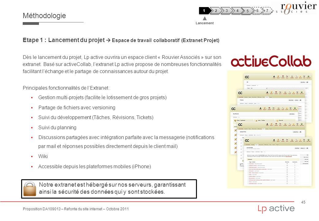 Méthodologie 1. 2. 3. 4. 5. 6. 7. Lancement. Etape 1 : Lancement du projet  Espace de travail collaboratif (Extranet Projet)