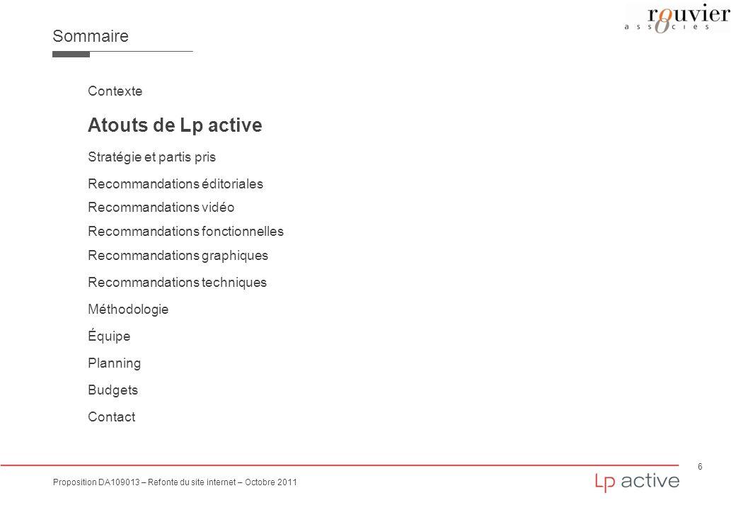 Atouts de Lp active Sommaire Contexte Stratégie et partis pris