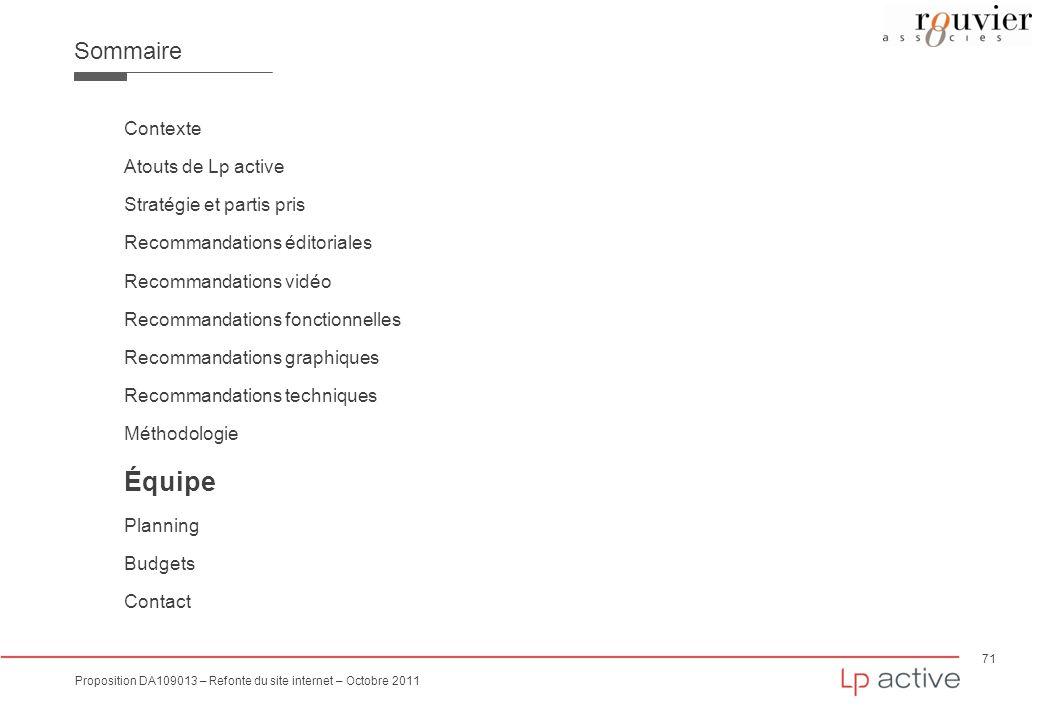 Équipe Sommaire Contexte Atouts de Lp active Stratégie et partis pris
