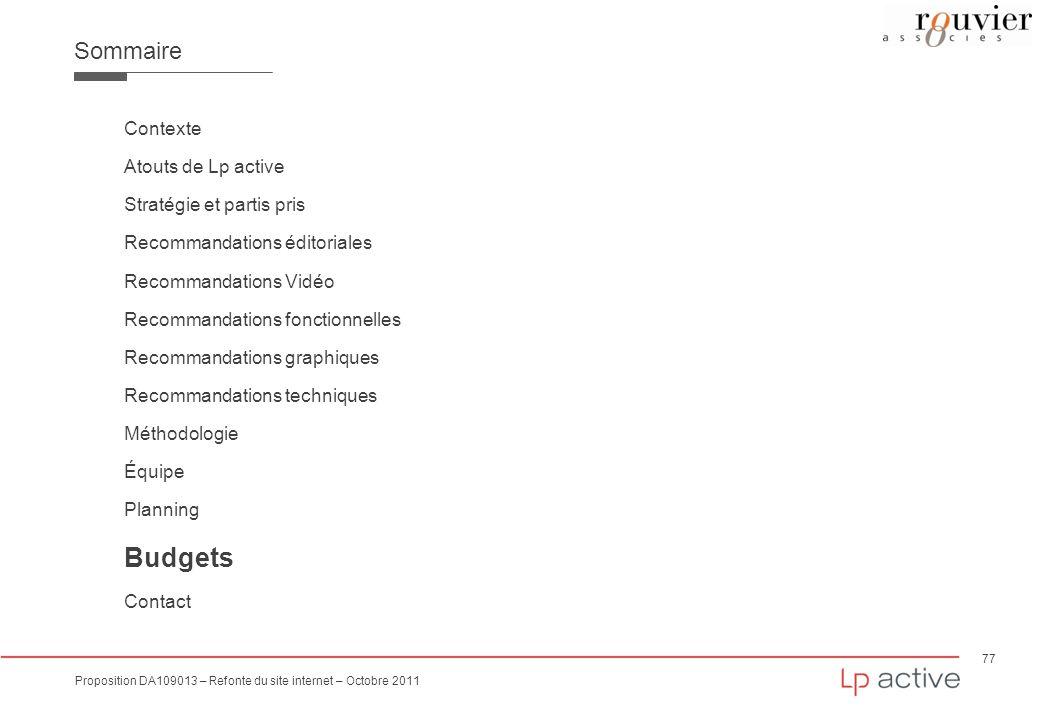 Budgets Sommaire Contexte Atouts de Lp active Stratégie et partis pris