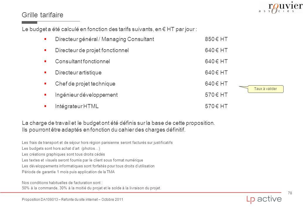 Grille tarifaire Le budget a été calculé en fonction des tarifs suivants, en € HT par jour : Directeur général / Managing Consultant 850 € HT.