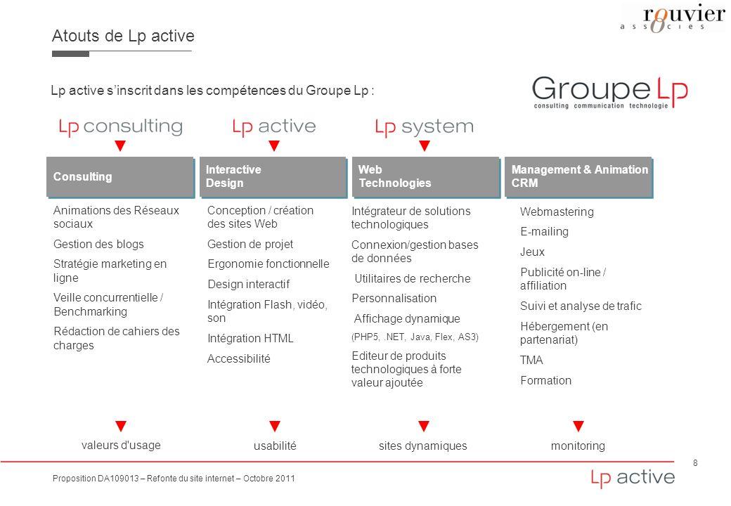Atouts de Lp active Lp active s'inscrit dans les compétences du Groupe Lp : Consulting. Interactive.