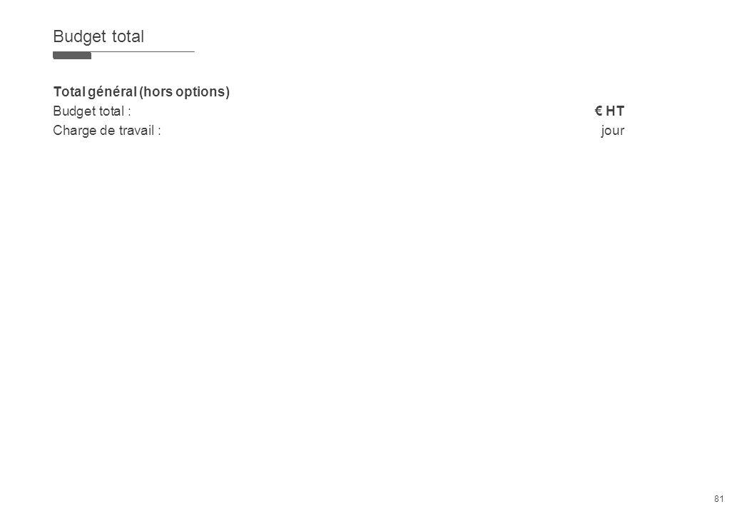 Budget total Total général (hors options) Budget total : € HT Charge de travail : jour 81