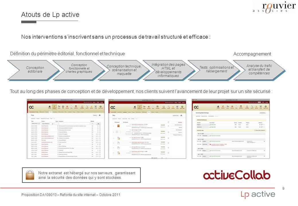 Atouts de Lp active Nos interventions s'inscrivent sans un processus de travail structuré et efficace :