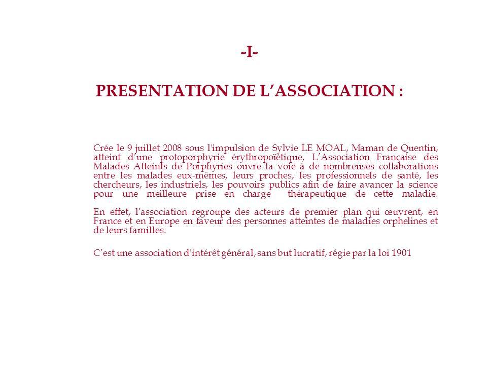 -I- PRESENTATION DE L'ASSOCIATION :