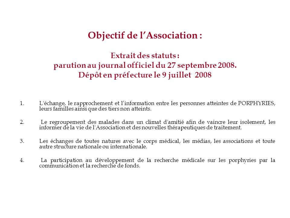 Objectif de l'Association : Extrait des statuts : parution au journal officiel du 27 septembre 2008. Dépôt en préfecture le 9 juillet 2008