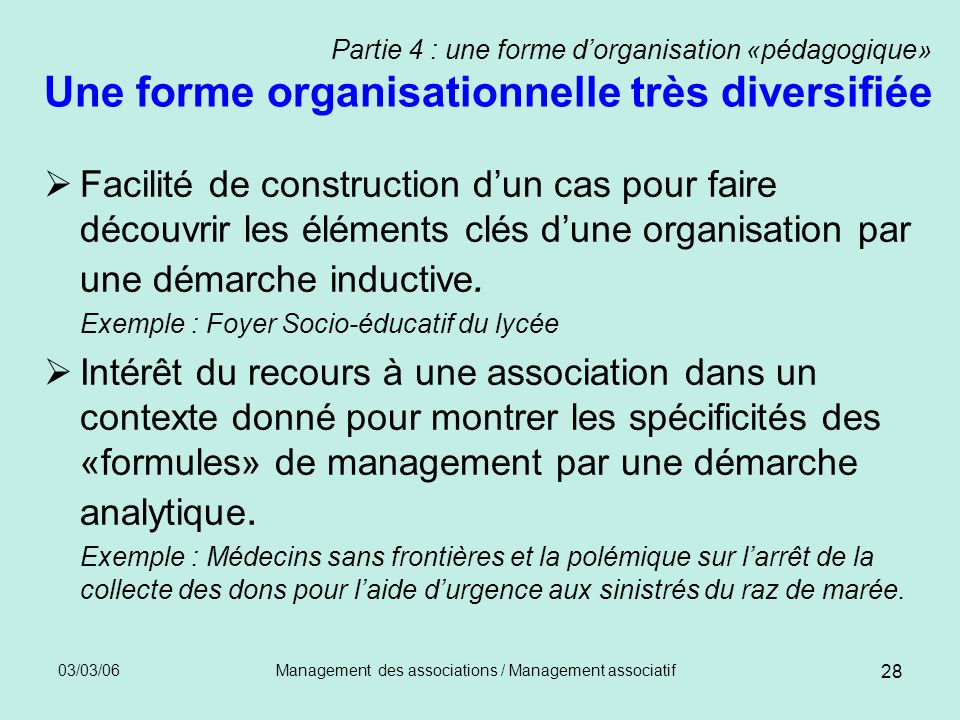Management des associations / Management associatif