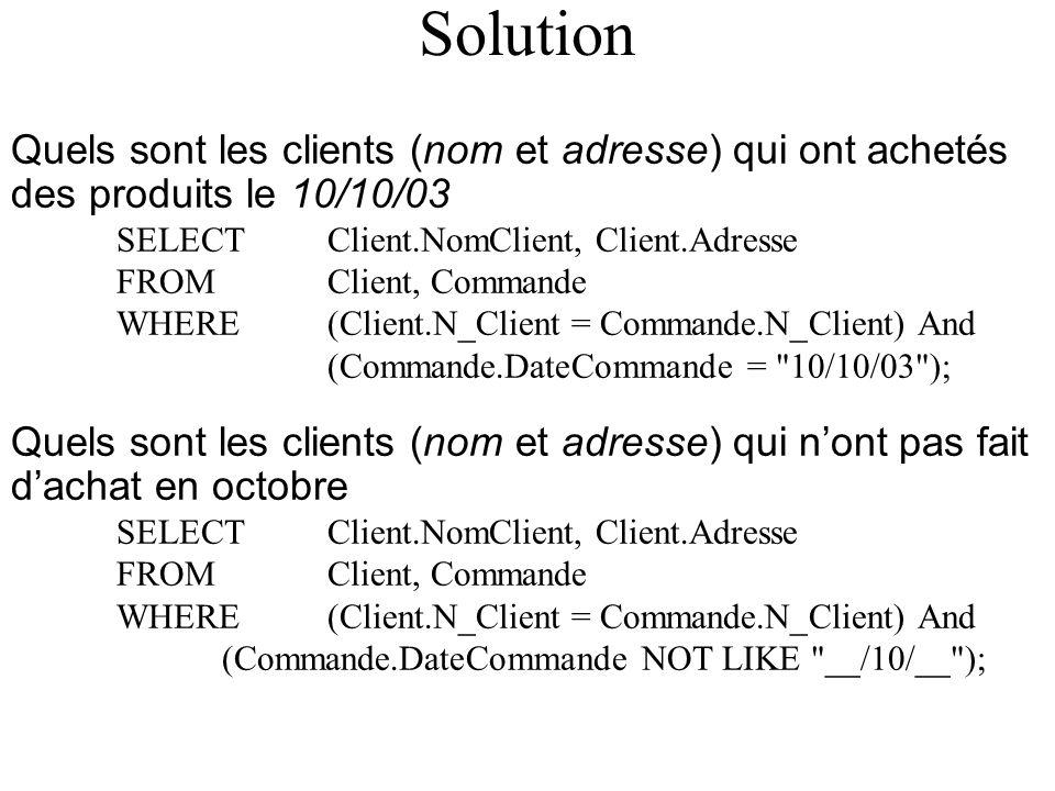 Solution Quels sont les clients (nom et adresse) qui ont achetés