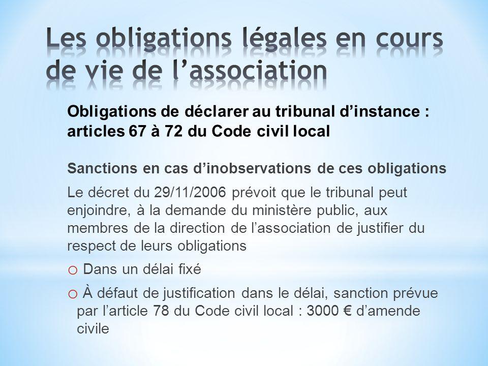 Les obligations légales en cours de vie de l'association