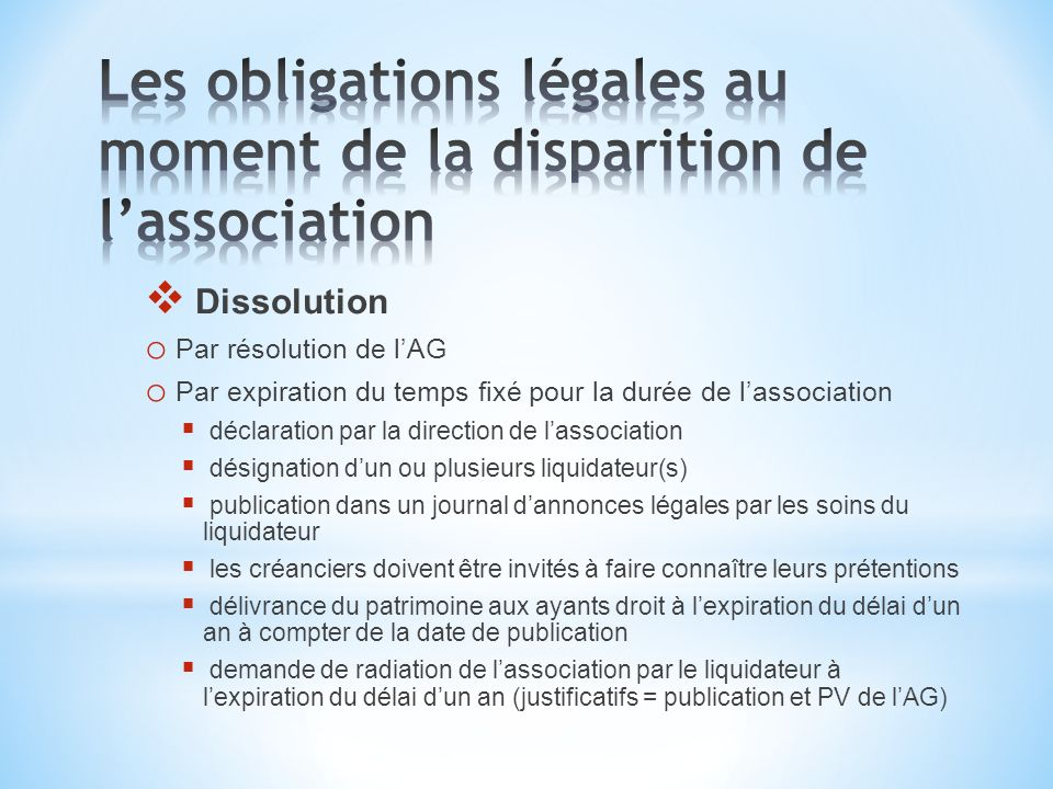 Les obligations légales au moment de la disparition de l'association