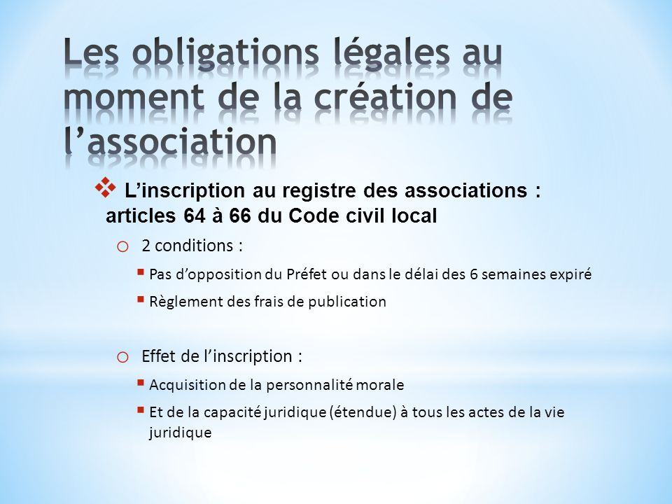 Les obligations légales au moment de la création de l'association