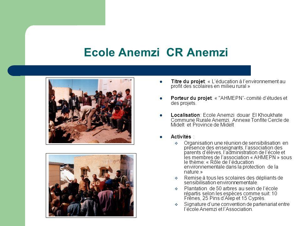 Ecole Anemzi CR Anemzi Titre du projet: « L'éducation à l'environnement au profit des scolaires en milieu rural »