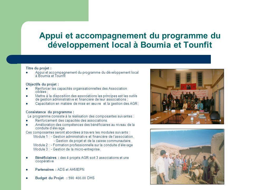 Appui et accompagnement du programme du développement local à Boumia et Tounfit