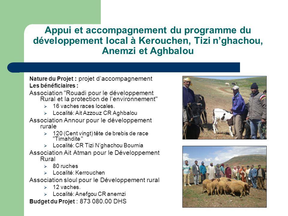 Appui et accompagnement du programme du développement local à Kerouchen, Tizi n'ghachou, Anemzi et Aghbalou