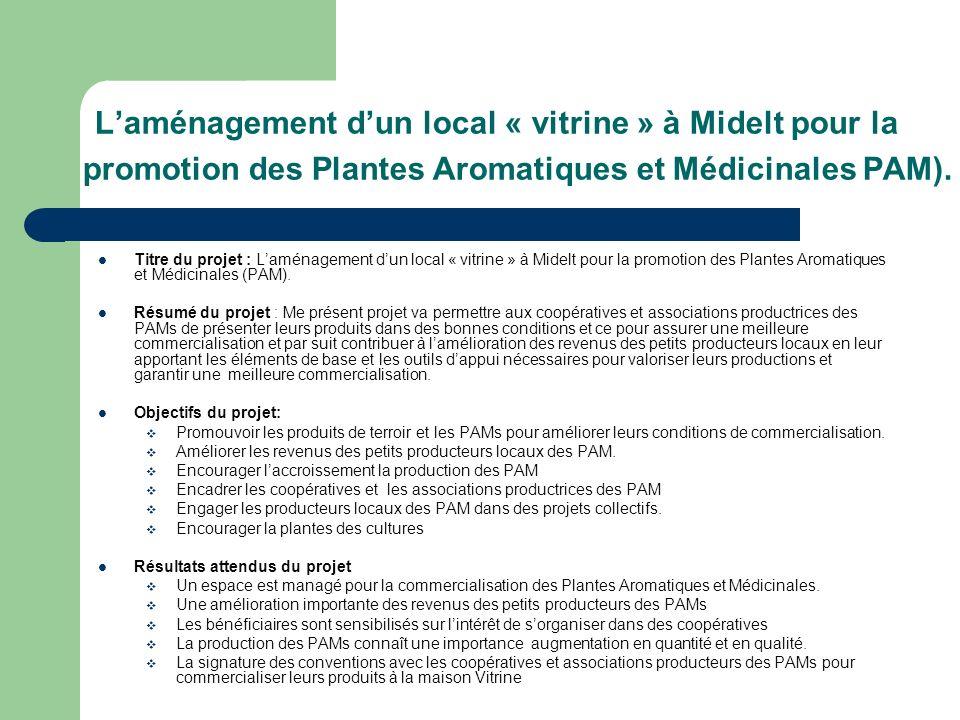 L'aménagement d'un local « vitrine » à Midelt pour la promotion des Plantes Aromatiques et Médicinales PAM).