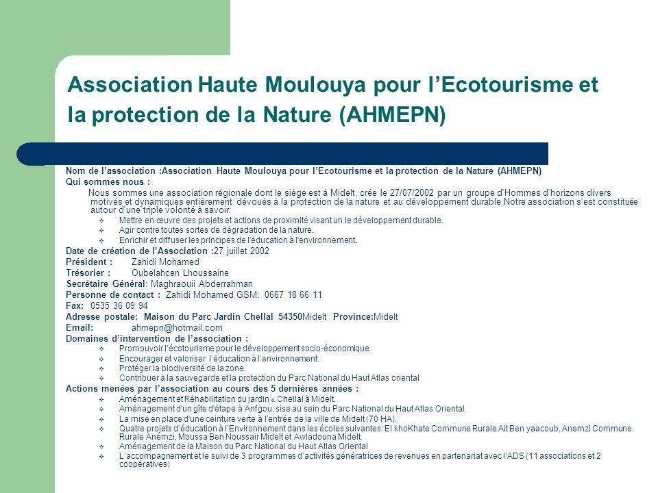 Association Haute Moulouya pour l'Ecotourisme et la protection de la Nature (AHMEPN)