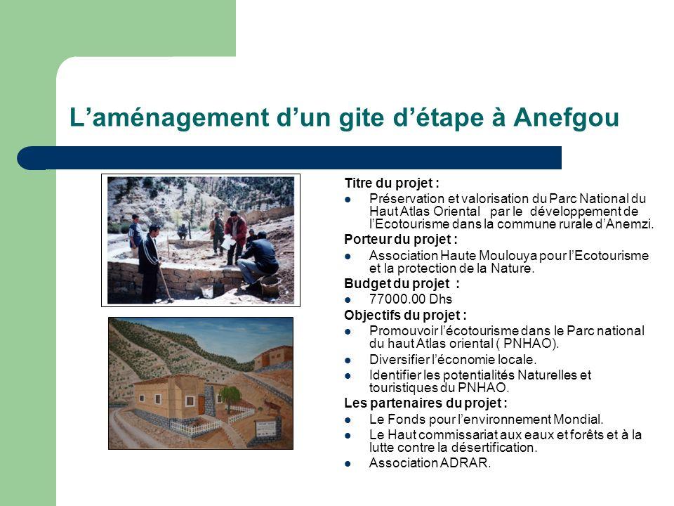 L'aménagement d'un gite d'étape à Anefgou