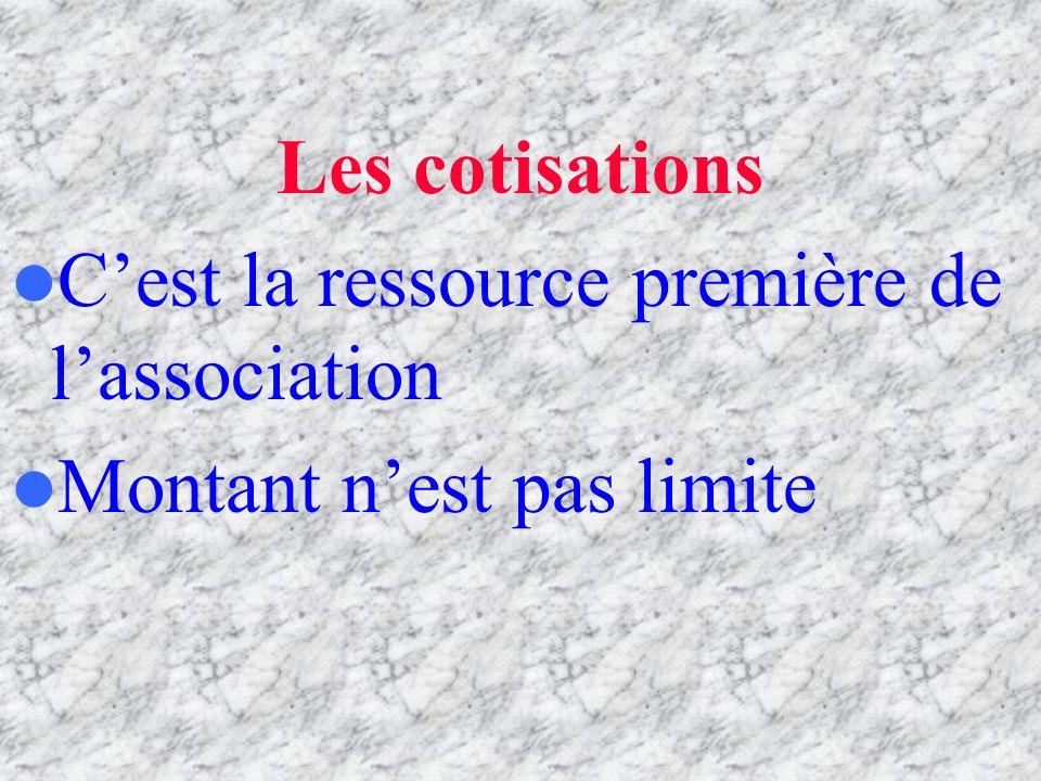 Les cotisations C'est la ressource première de l'association Montant n'est pas limite