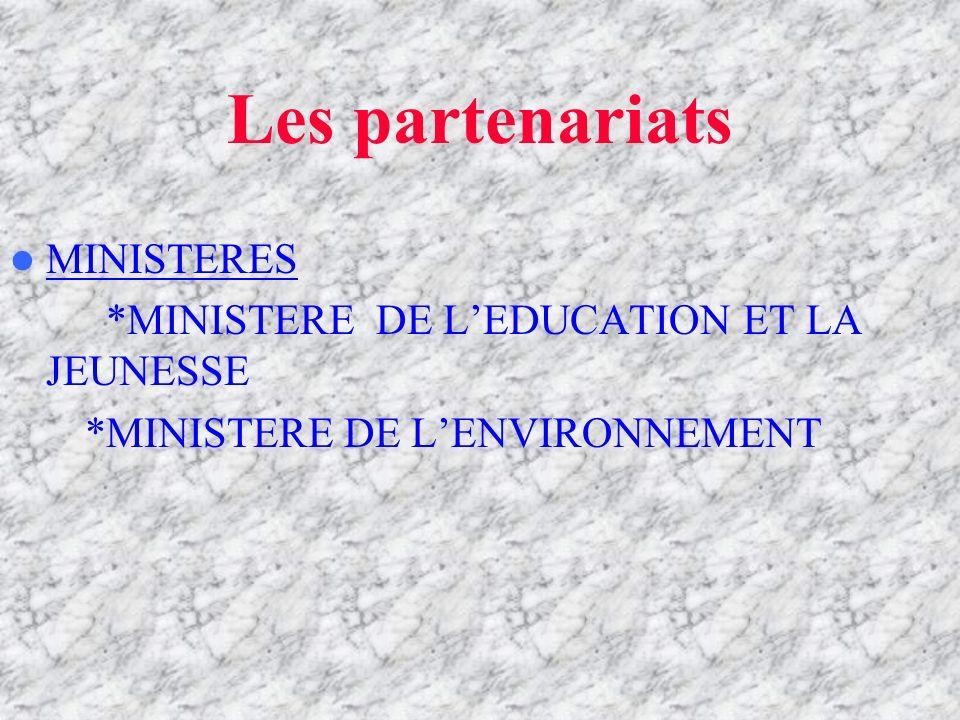 Les partenariats MINISTERES *MINISTERE DE L'EDUCATION ET LA JEUNESSE