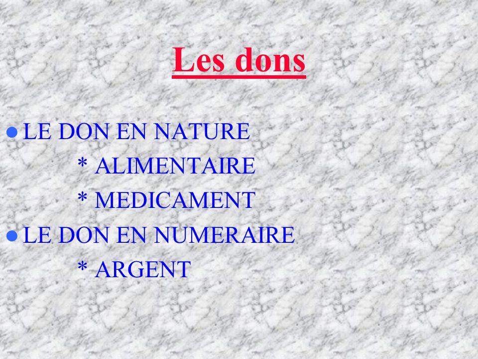 Les dons LE DON EN NATURE * ALIMENTAIRE * MEDICAMENT