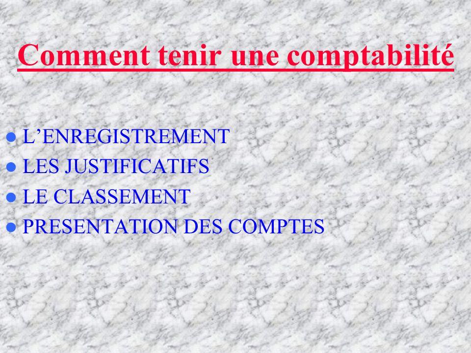 COMMENT TENIR UNE COMPTABILITE