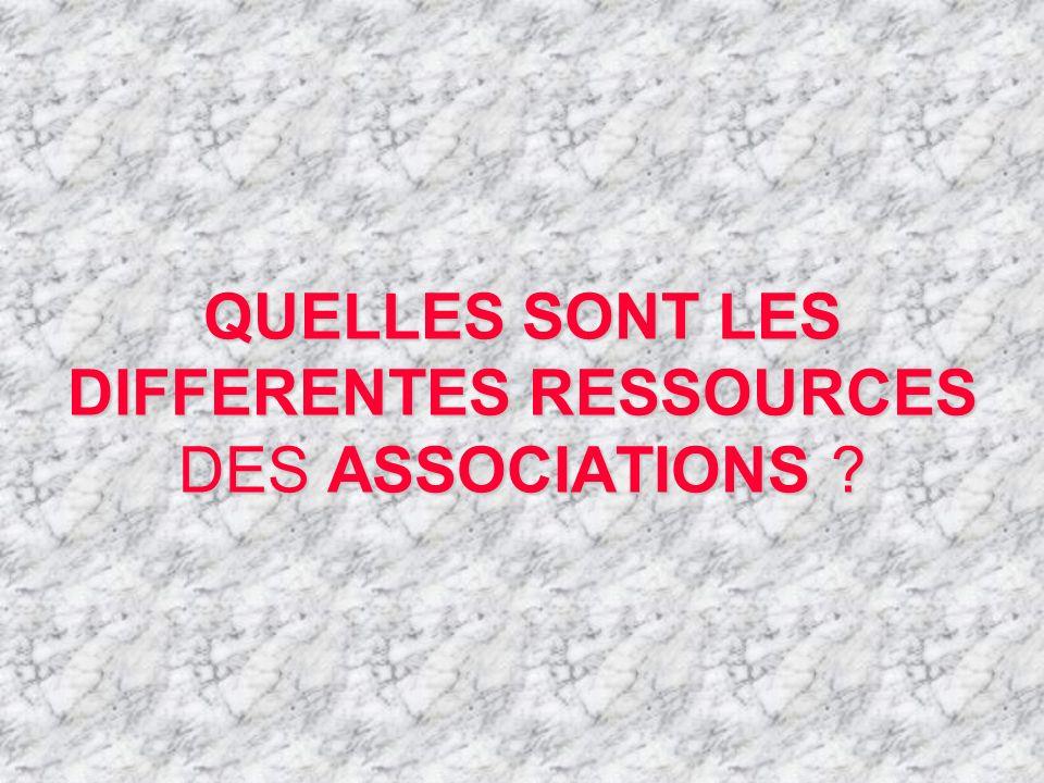 QUELLES SONT LES DIFFERENTES RESSOURCES DES ASSOCIATIONS