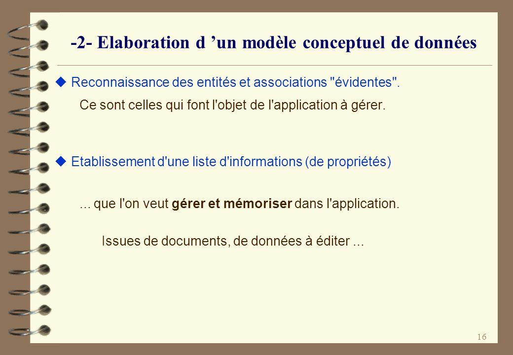 -2- Elaboration d 'un modèle conceptuel de données