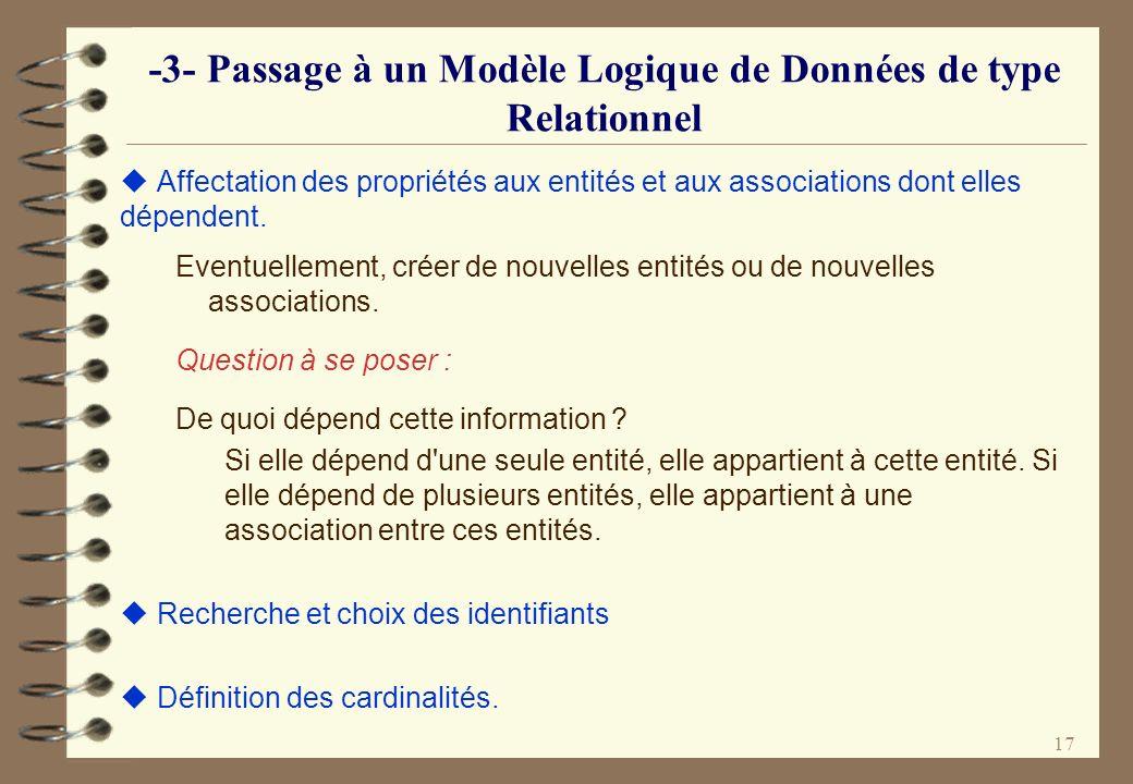 -3- Passage à un Modèle Logique de Données de type Relationnel
