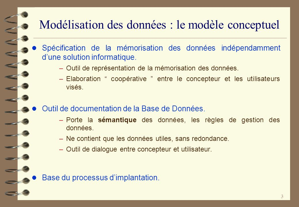 Modélisation des données : le modèle conceptuel
