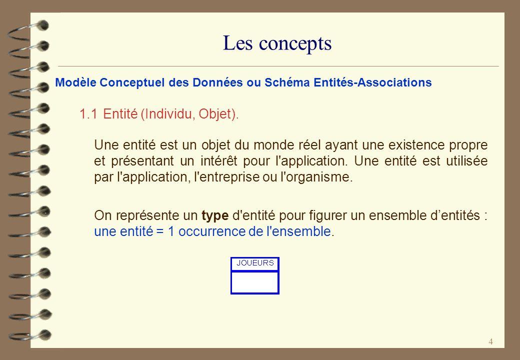 Les concepts 1.1 Entité (Individu, Objet).