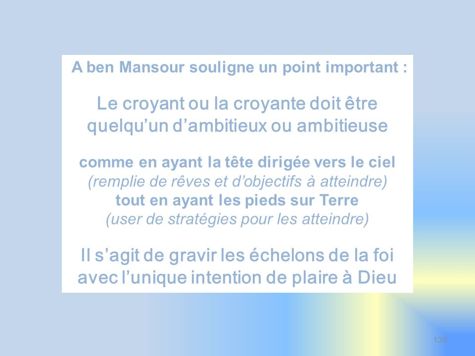 A ben Mansour souligne un point important :