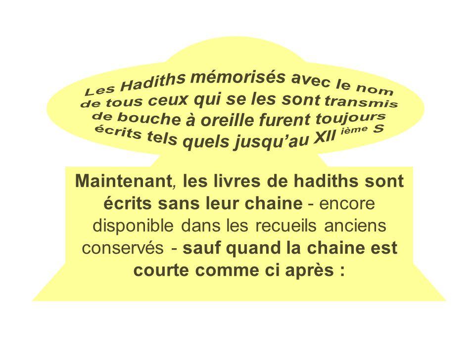 Les Hadiths mémorisés avec le nom