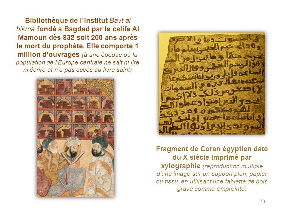 Bibliothèque de l'institut Bayt al hikma fondé à Bagdad par le calife Al Mamoun dès 832 soit 200 ans après la mort du prophète. Elle comporte 1 million d ouvrages (à une époque où la population de l'Europe centrale ne sait ni lire ni écrire et n'a pas accès au livre saint)