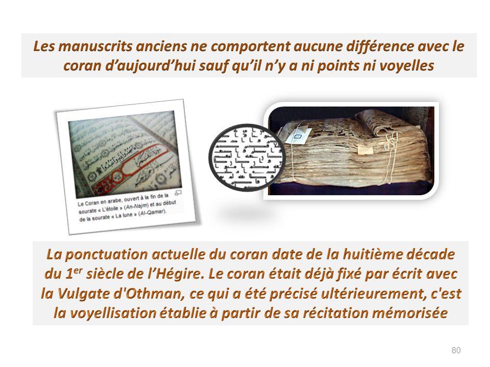 Les manuscrits anciens ne comportent aucune différence avec le coran d'aujourd'hui sauf qu'il n'y a ni points ni voyelles