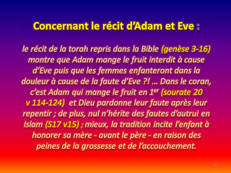 Concernant le récit d'Adam et Eve :