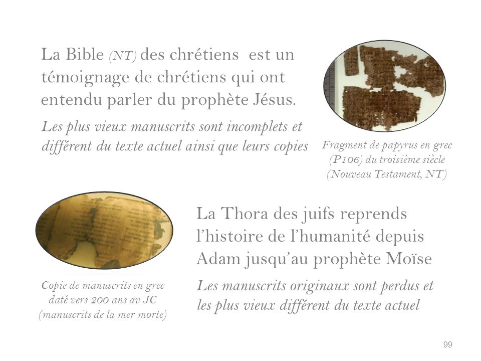 La Bible (NT) des chrétiens est un témoignage de chrétiens qui ont entendu parler du prophète Jésus.