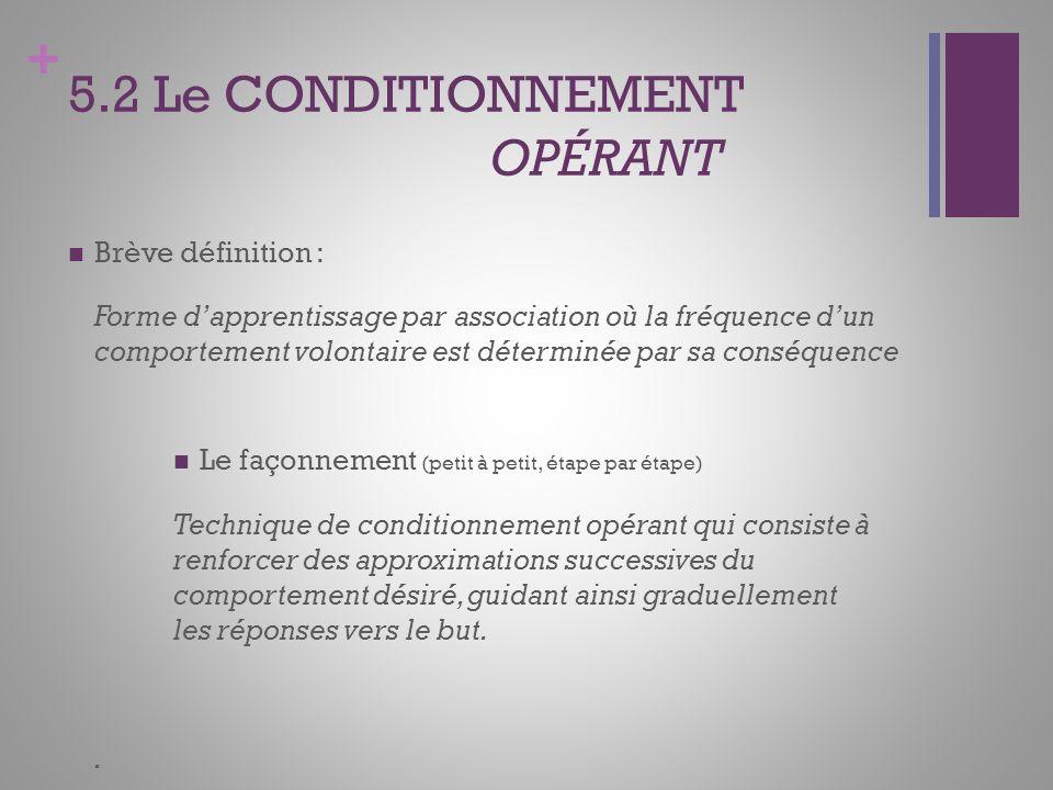 5.2 Le CONDITIONNEMENT OPÉRANT