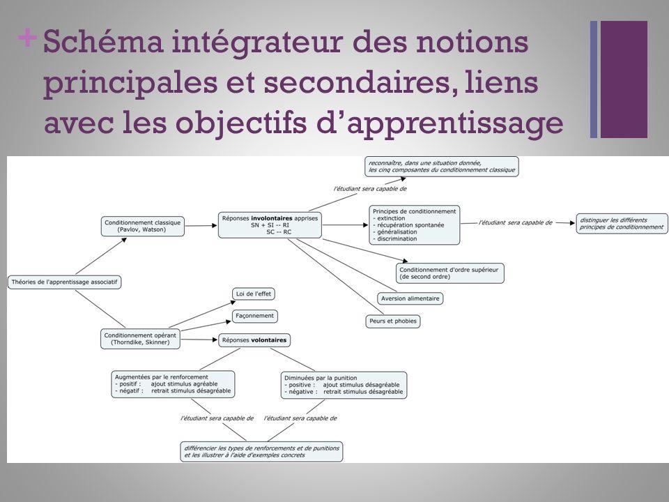 Schéma intégrateur des notions principales et secondaires, liens avec les objectifs d'apprentissage