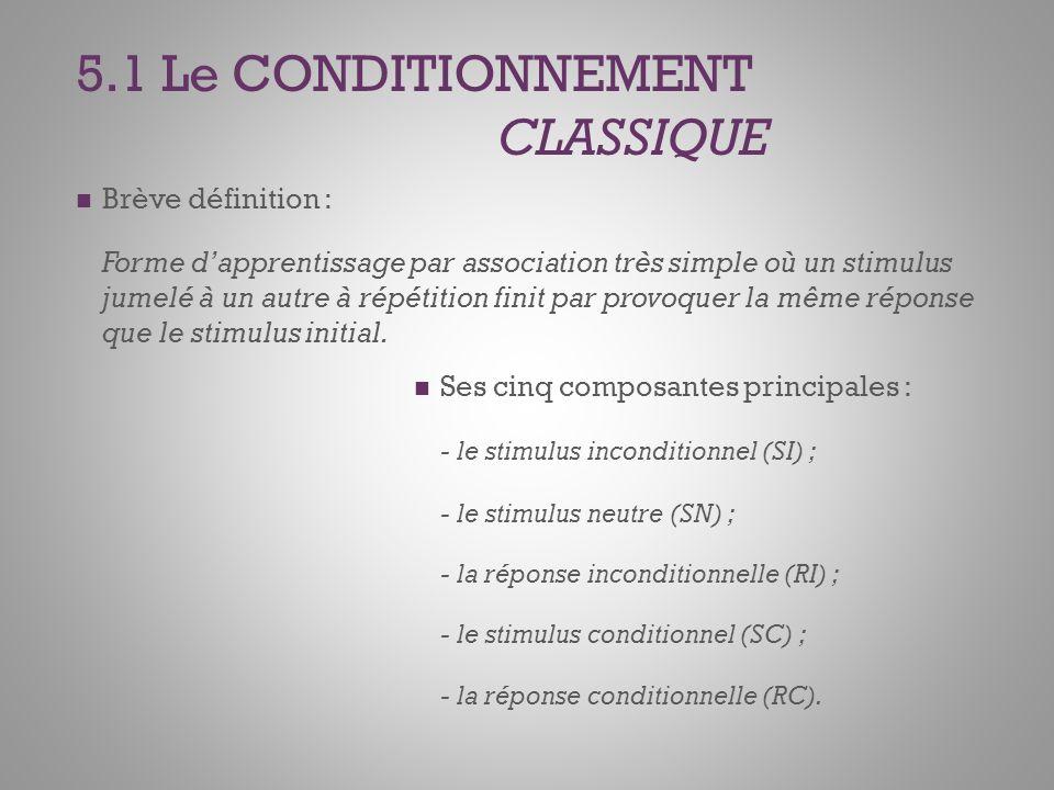 5.1 Le CONDITIONNEMENT CLASSIQUE