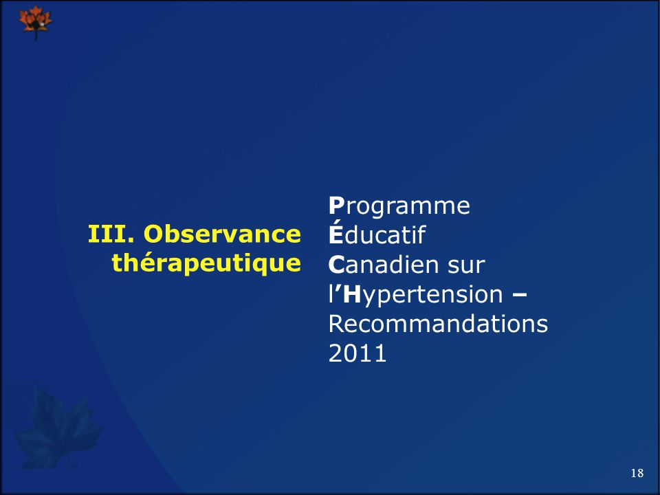 III. Observance thérapeutique