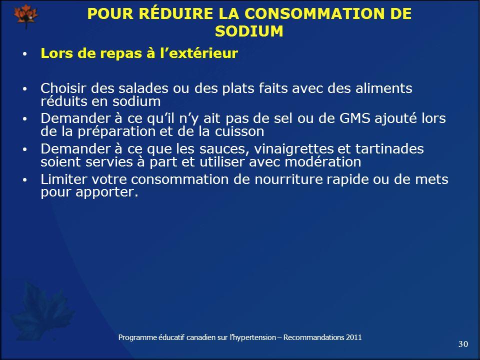 POUR RÉDUIRE LA CONSOMMATION DE SODIUM
