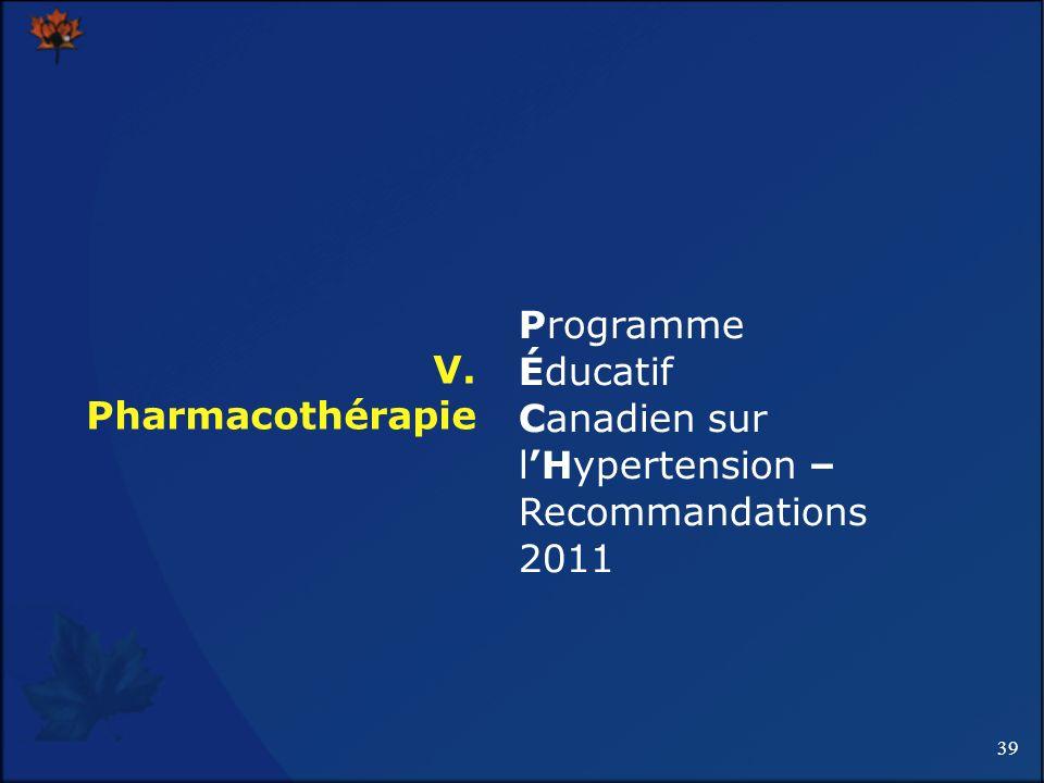 Programme Éducatif Canadien sur l'Hypertension – Recommandations 2011 V. Pharmacothérapie